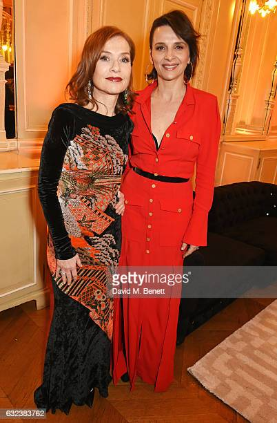 Isabelle Huppert and Juliette Binoche attend as Chopard presents The Garden Of Kalahari collection at Theatre du Chatalet on January 21 2017 in Paris...