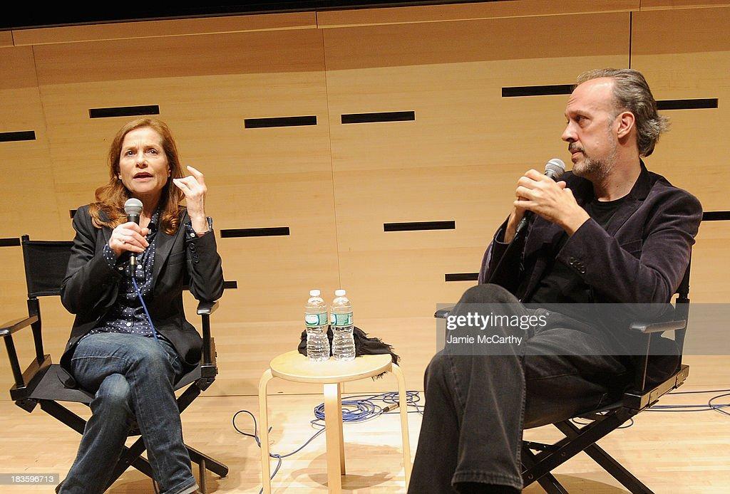 Isabelle Huppert and Kent Jones, Director of Programming for the New York Film Festival attend the Isabelle Huppert, 'Abuse Of Weakness' panel during the 51st New York Film Festival at Elinor Bunin Munroe Film Center on October 7, 2013 in New York City.