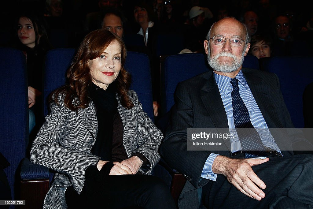 Isabelle Huppert and Nicolas Seydoux attend the Maurice Pialat Exhibition And Retrospective Opening at Cinematheque Francaise on February 18, 2013 in Paris, France.