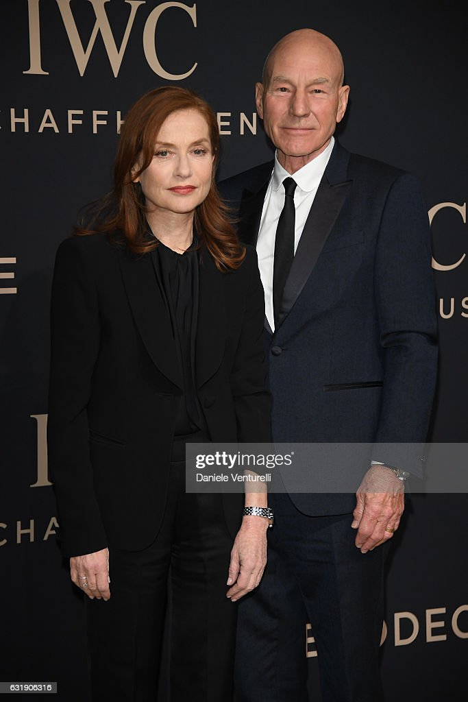 Isabelle Huppert and Patrick Stewart arrive at IWC Schaffhausen at SIHH 2017 'Decoding the Beauty of Time' Gala Dinner on January 17, 2017 in Geneva, Switzerland.