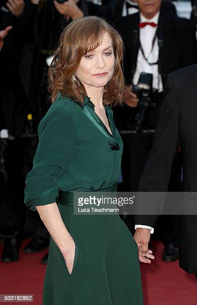 Isabelle Huppert and Paul Verhoeven attends the screening of Elle at the annual 69th Cannes Film Festival at Palais des Festivals on May 21 2016 in...