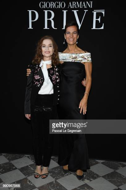 Isabelle Huppert and Roberta Armani attend the Giorgio Armani Prive Haute Couture Fall Winter 2018/2019 show as part of Paris Fashion Week on July 3...