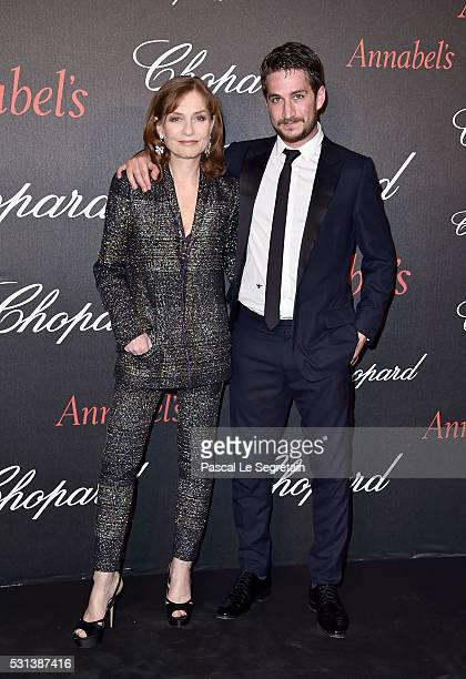 Isabelle Huppert and son Lorenzo Chammah attend the Chopard Gent's Party at Annabel's in Cannes during the 69th Cannes Film Festival on May 14 2016...