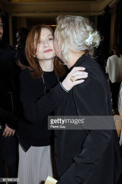 Isabelle Huppert and stylist Agnes B attends the Agnes B show as part of the Paris Fashion Week Womenswear Fall/Winter 2018/2019 on March 5 2018 in...