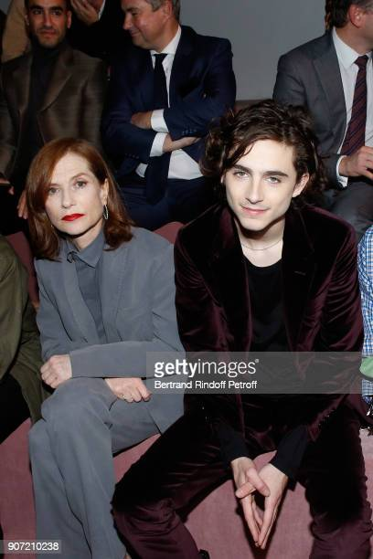 Isabelle Huppert and Timothee Chalamet attend the Berluti Menswear Fall/Winter 20182019 show as part of Paris Fashion Week on January 19 2018 in...