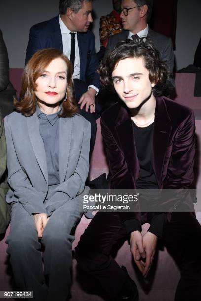 Isabelle Huppert and Timothee Chamalet attend the Berluti Menswear Fall/Winter 20182019 show as part of Paris Fashion Week on January 19 2018 in...