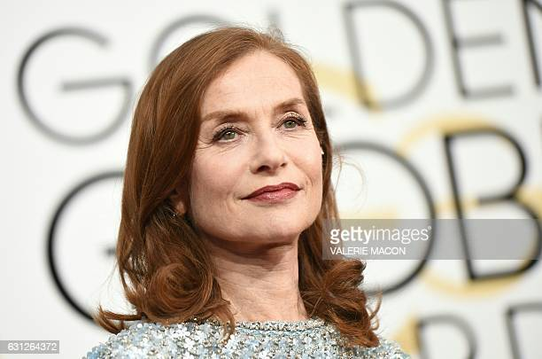 TOPSHOT Isabelle Huppert arrives at the 74th annual Golden Globe Awards January 8 at the Beverly Hilton Hotel in Beverly Hills California / AFP /...