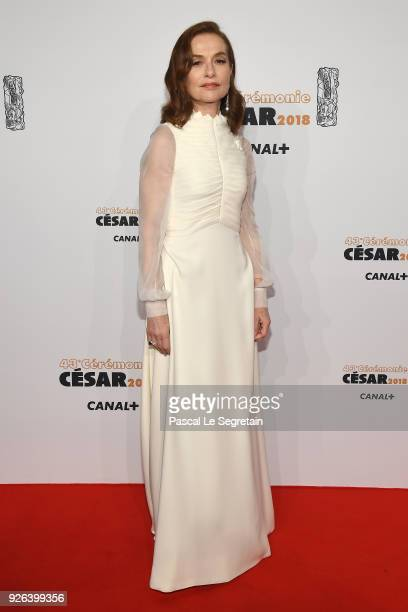 Isabelle Huppert arrives at the Cesar Film Awards 2018 at Salle Pleyel on March 2 2018 in Paris France
