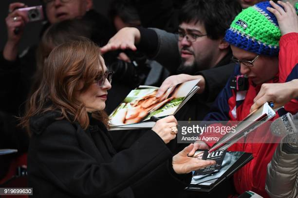 Isabelle Huppert arrives for a photocall on the film 'Eva' during the 68th Berlinale International Film Festival at the Berlinale Palast in Berlin...