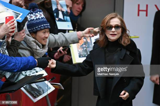 Isabelle Huppert arrives for the 'Eva' photo call during the 68th Berlinale International Film Festival Berlin at Grand Hyatt Hotel on February 17...