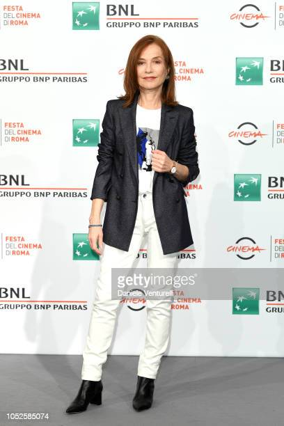 Isabelle Huppert attends a photocall during the 13th Rome Film Fest at Auditorium Parco Della Musica on October 20 2018 in Rome Italy