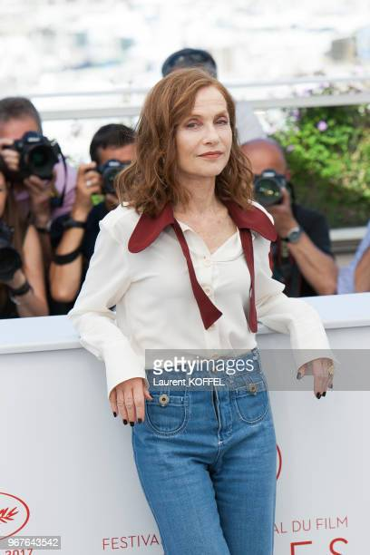Isabelle Huppert attends 'Claire's Camera ' photocall during the 70th annual Cannes Film Festival at Palais des Festivals on May 21 2017 in Cannes...
