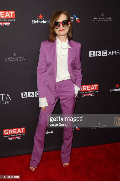 Isabelle Huppert attends The BAFTA Los Angeles Tea Party at Four Seasons Hotel Los Angeles at Beverly Hills on January 6 2018 in Los Angeles...