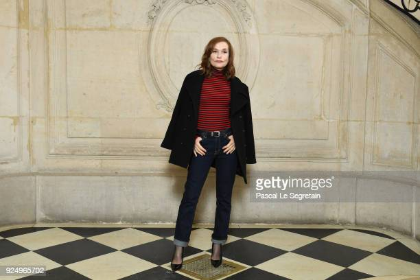 Isabelle Huppert attends the Christian Dior show as part of the Paris Fashion Week Womenswear Fall/Winter 2018/2019 on February 27 2018 in Paris...