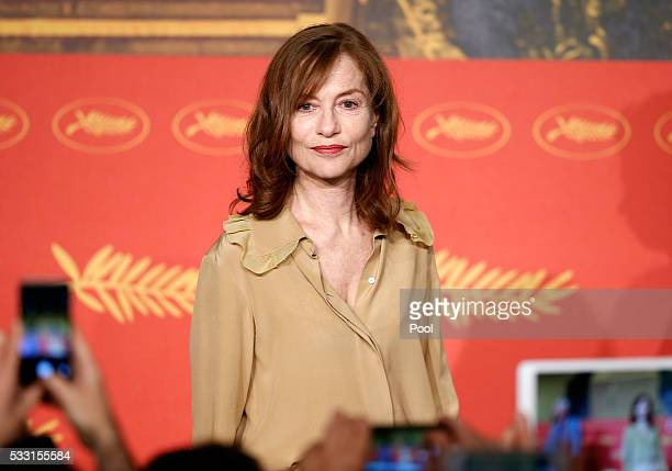Isabelle Huppert attends the 'Elle' Press Conference during the 69th annual Cannes Film Festival at the Palais des Festivals on May 21 2016 in Cannes...