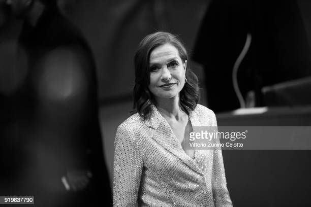 Isabelle Huppert attends the 'Eva' premiere during the 68th Berlinale International Film Festival Berlin at Berlinale Palast on February 17 2018 in...