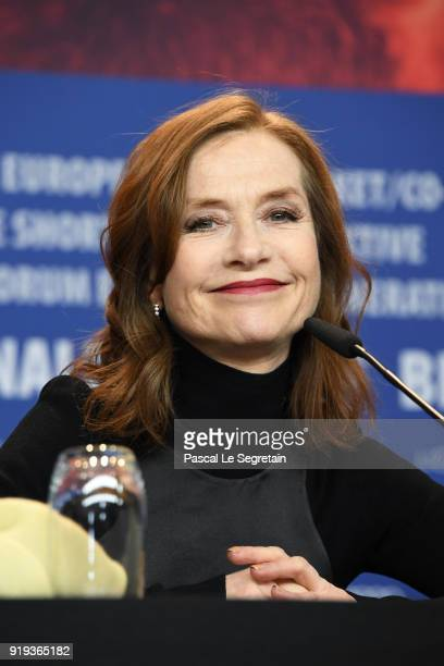 Isabelle Huppert attends the 'Eva' press conference during the 68th Berlinale International Film Festival Berlin at Grand Hyatt Hotel on February 17...