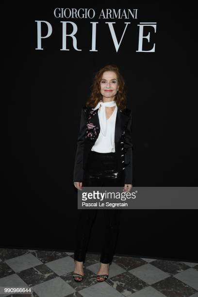 Isabelle Huppert attends the Giorgio Armani Prive Haute Couture Fall Winter 2018/2019 show as part of Paris Fashion Week on July 3 2018 in Paris...