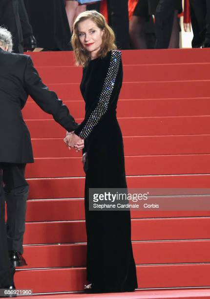 Isabelle Huppert attends the 'Happy End' premiere during the 70th annual Cannes Film Festival at Palais des Festivals on May 22 2017 in Cannes France
