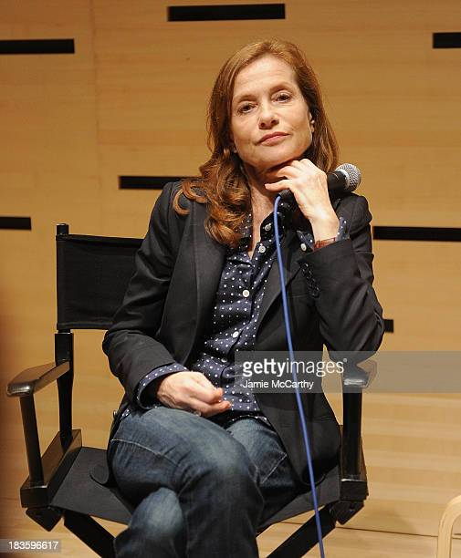Isabelle Huppert attends the Isabelle Huppert 'Abuse Of Weakness' panel during the 51st New York Film Festival at Elinor Bunin Munroe Film Center on...
