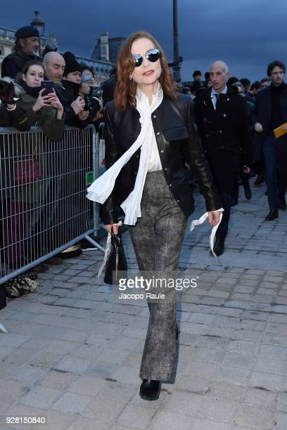 Isabelle Huppert attends the Louis Vuitton show as part of the Paris Fashion Week Womenswear Fall/Winter 2018/2019 on March 6 2018 in Paris France