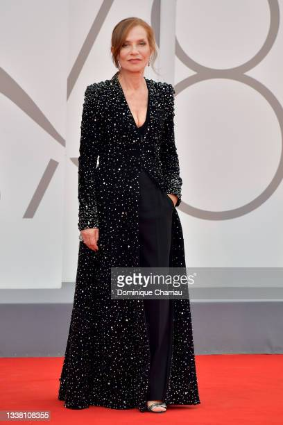 """Isabelle Huppert attends the red carpet of the movie """"Dune"""" during the 78th Venice International Film Festival on September 03, 2021 in Venice, Italy."""