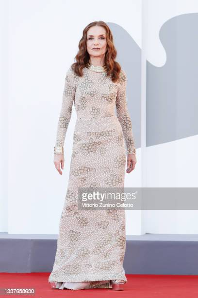 """Isabelle Huppert attends the red carpet of the movie """"Madres Paralelas"""" during the 78th Venice International Film Festival on September 01, 2021 in..."""