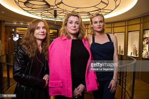 Isabelle Huppert Catherine Deneuve and Diane Kruger attend JaegerLeCoultre Vendome Boutique Opening at JaegerLeCoultre Boutique on November 20 2012...