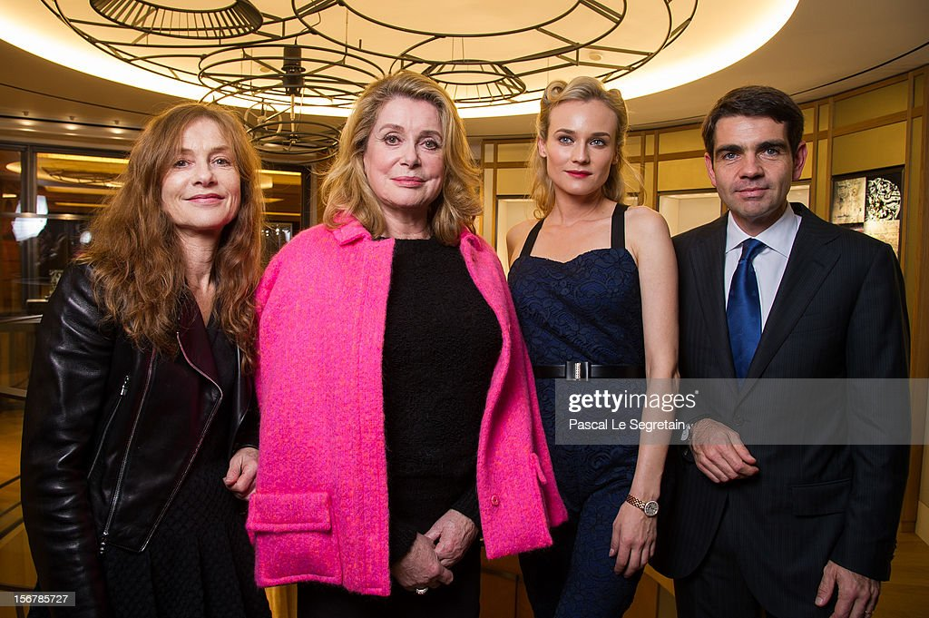 Isabelle Huppert, Catherine Deneuve, Diane Kruger and Jerome Lambert, CEO of Jaeger-LeCoultre attend Jaeger-LeCoultre Vendome Boutique Opening at Jaeger-LeCoultre Boutique on November 20, 2012 in Paris, France.