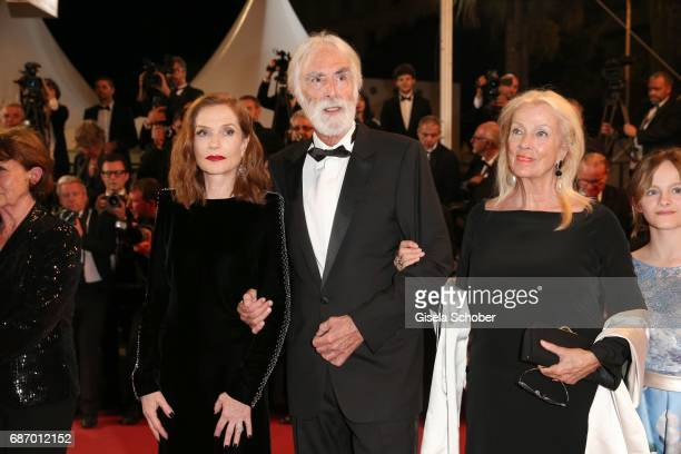 Isabelle Huppert director Michael Haneke and his wife Susi Haneke attend the 'Happy End' screening during the 70th annual Cannes Film Festival at...