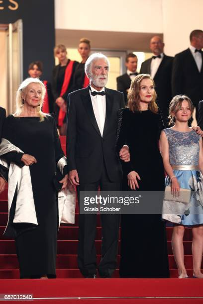 Isabelle Huppert director Michael Haneke Susi Haneke and Fantine Harduin attend the Happy End screening during the 70th annual Cannes Film Festival...