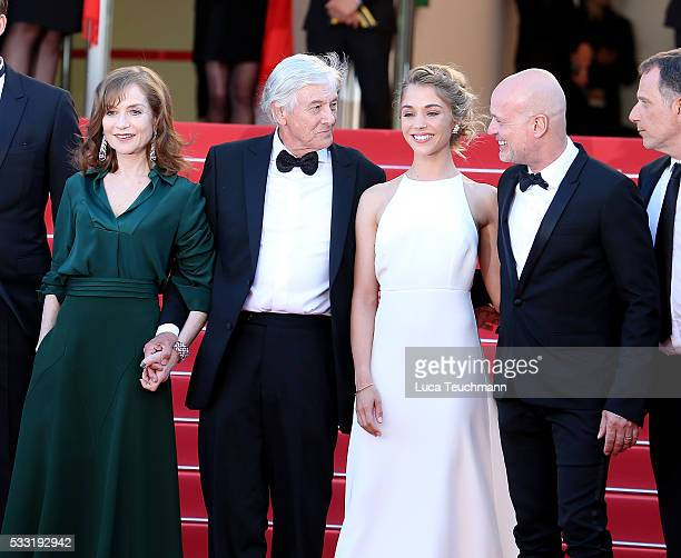 Isabelle Huppert director Paul Verhoeven actors Alice Isaaz Christian Berkel attends the screening of Elle at the annual 69th Cannes Film Festival at...