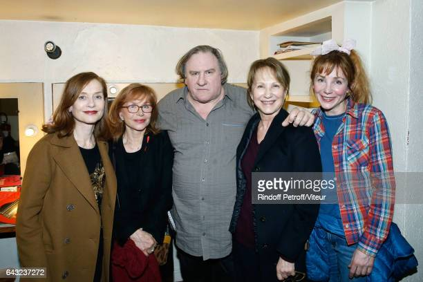 Isabelle Huppert Elisabeth Depardieu Gerard Depardieu Nathalie Baye and Julie Depardieu pose Backstage after Gerard Depardieu sings Barbara...