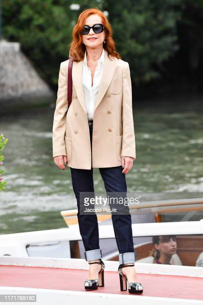 Isabelle Huppert is seen arriving at the 76th Venice Film Festival on September 02 2019 in Venice Italy