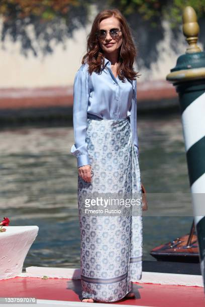 Isabelle Huppert is seen arriving at the 78th Venice International Film Festival on September 01, 2021 in Venice, Italy.