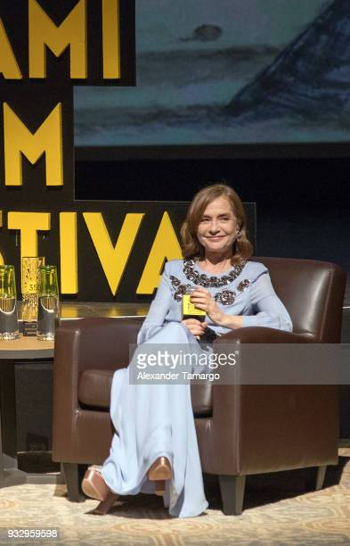 Isabelle Huppert is seen at the Miami Film Festival 2018 at the Olympia Theatre on March 16 2018 in Miami Florida