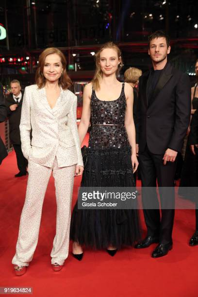 Isabelle Huppert Julia Roy and Gaspard Ulliel attend the 'Eva' premiere during the 68th Berlinale International Film Festival Berlin at Berlinale...
