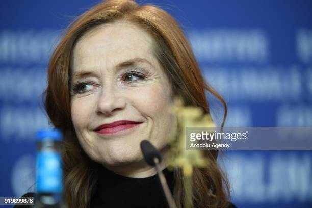 Isabelle Huppert pose for a photo at a photocall on the film 'Eva' during the 68th Berlinale International Film Festival at the Berlinale Palast in...