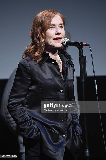 Isabelle Huppert speaks onstage at the 54th New York Film Festival 'Elle' Intro and QA at Alice Tully Hall Lincoln Center on October 14 2016 in New...