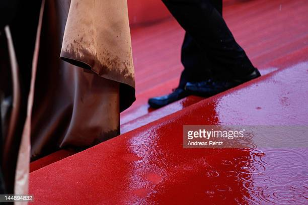 """Isabelle Huppert's dress is wet from the rain as she attends the """"Amour"""" Premiere during the 65th Annual Cannes Film Festival at Palais des Festivals..."""