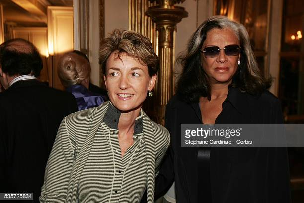 Isabelle Juppe and Betty Lagardere attend an award ceremony for actor Michel Serrault after he was presented with the Chevalier de l'Ordre National...