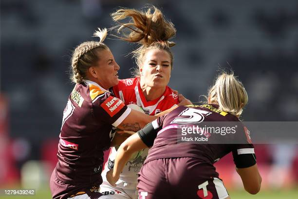 Isabelle Kelly of the Dragons is tackled during the round two NRLW match between the St George Illawarra Dragons and the Brisbane Broncos at Bankwest...