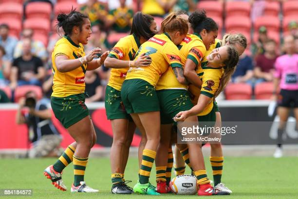 Isabelle Kelly of the Jillaroos celebrates scoring a try during the 2017 Rugby League Women's World Cup Final between Australia and New Zealand at...
