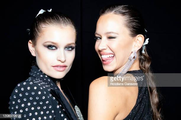 Isabelle Mathers seen backstage at the Philipp Plein fashion show on February 22, 2020 in Milan, Italy.