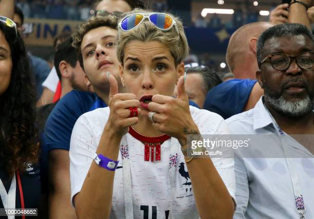 Isabelle Matuidi wife of Blaise Matuidi of France celebrates the victory following the 2018 FIFA World Cup Russia Final between France and Croatia at...