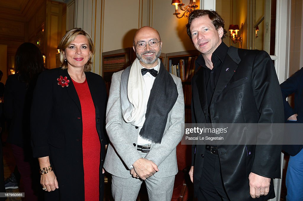Isabelle Maurin, Patrick Cabasset and Lorenz Baumer attend the 2013 Launch of the Dorchester Collection Fashion Prize 2013 at Hotel Plaza Athenee on May 3, 2013 in Paris, France.
