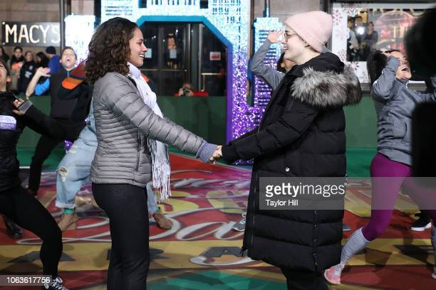 Isabelle McCalla and Caitlin Kinnunen perform rehearsing The Prom on Day 1 of 2018 Macy's Thanksgiving Day Parade Rehearsals at Macy's Herald Square...