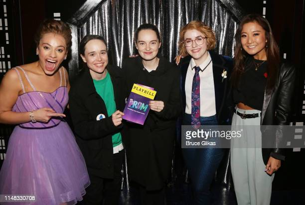 Isabelle McCalla Ellen Page wife Emma Portner Caitlin Kinnunen and Ashley Park pose backstage at the musical The Prom on Broadway at The Longacre...