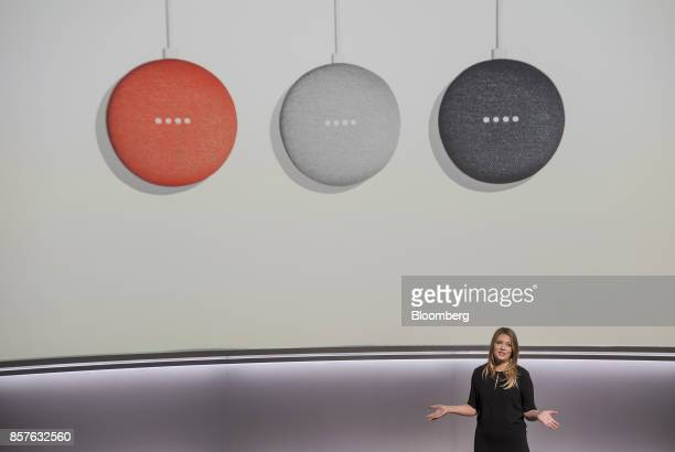 Isabelle Olsson senior industrial designer for Google Inc speaks about the Google Home Mini voice speaker during a product launch event in San...