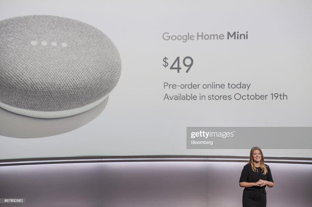 Isabelle Olsson, senior industrial designer for Google Inc., speaks about the Google Home Mini voice speaker during a product launch event in San Francisco, California, U.S., on Wednesday, Oct. 4, 2017. Google unveiled the second generation of its own devices along with an array of entirely new gadgets, plowing the company deeper into a competitive consumer hardware market. Photographer: David Paul Morris/Bloomberg via Getty Images